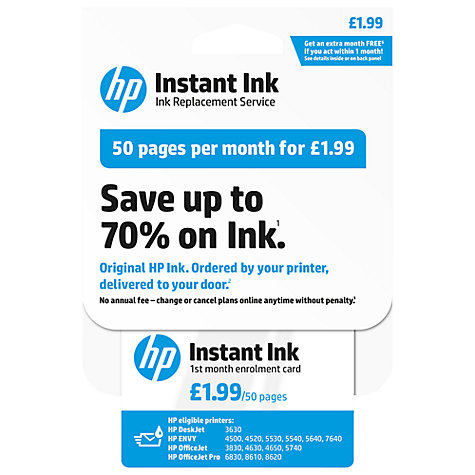 buy hp instant ink enrolment card 50 pages john lewis. Black Bedroom Furniture Sets. Home Design Ideas