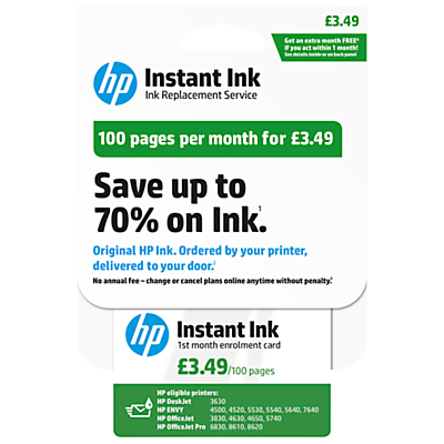 HP Instant Ink Enrolment Card 100 Pages