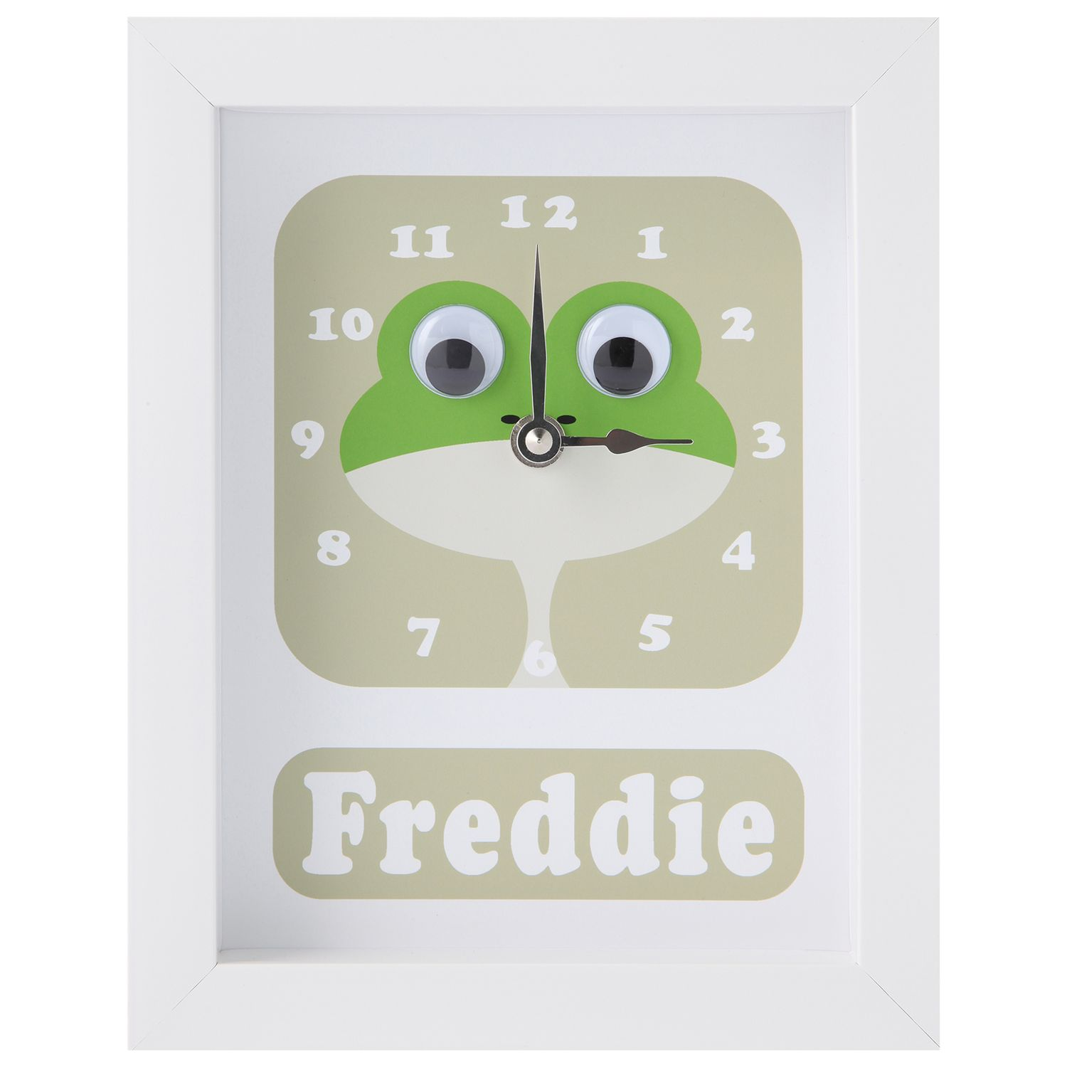Stripey Cats Stripey Cats Personalised Frog Framed Clock, 23 x 18cm, Green