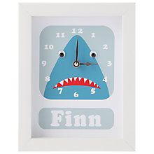 Buy Stripey Cats Personalised Shark Framed Clock, 23 x 18cm, Blue Online at johnlewis.com