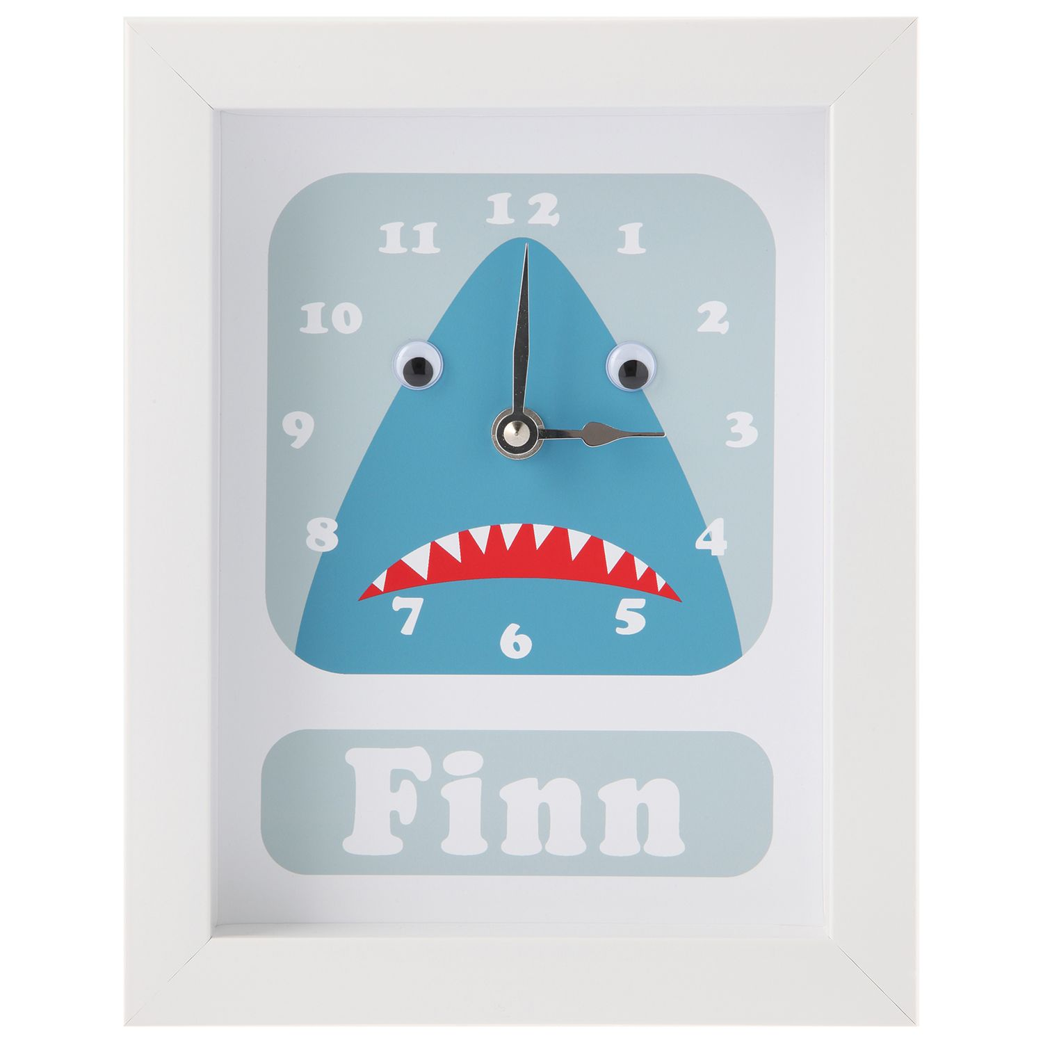 Stripey Cats Stripey Cats Personalised Shark Framed Clock, 23 x 18cm, Blue