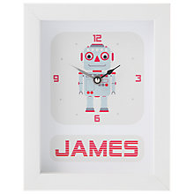 Buy Stripey Cats Personalised Robot Framed Clock, 23 x 18cm, Blue Online at johnlewis.com
