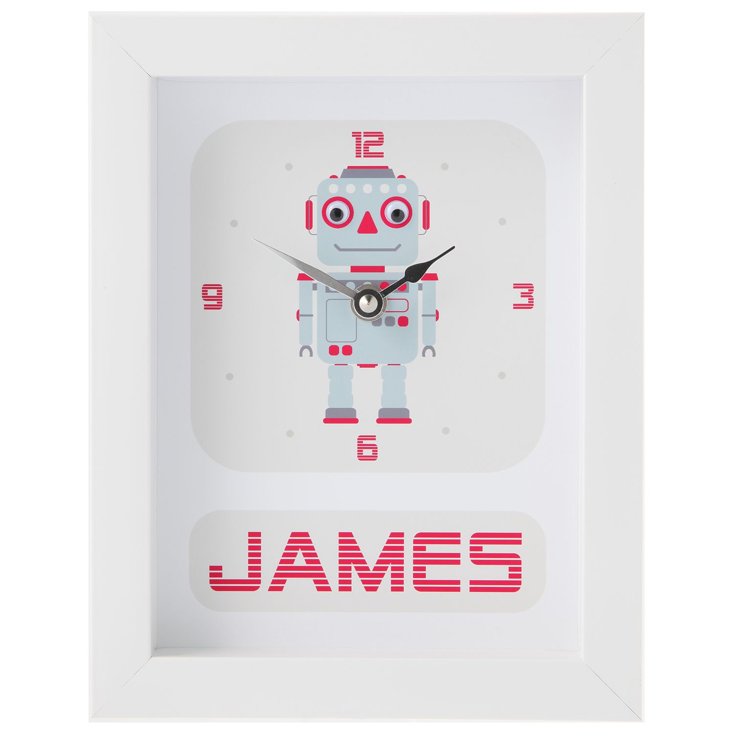 Stripey Cats Stripey Cats Personalised Robot Framed Clock, 23 x 18cm, Blue