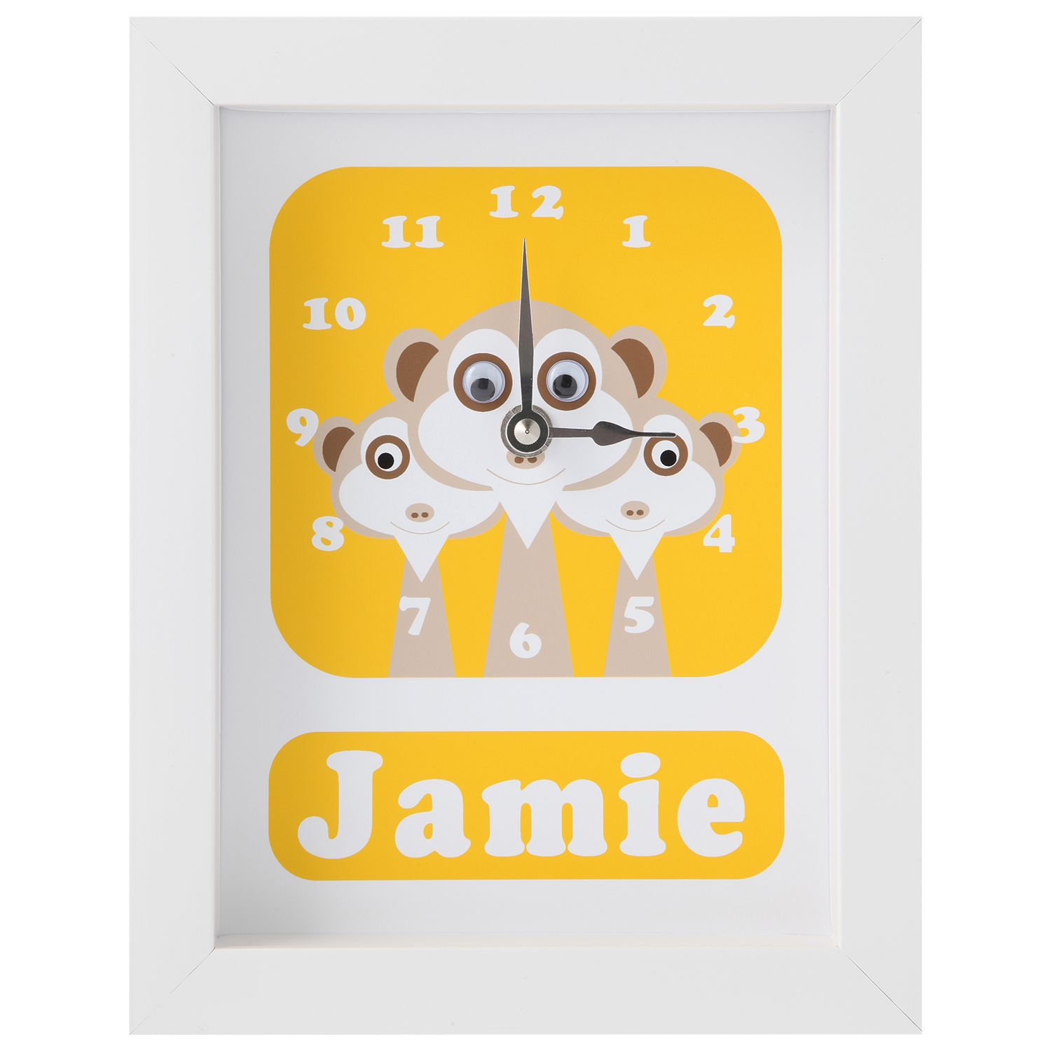 Stripey Cats Stripey Cats Personalised Meerkat Framed Clock, 23 x 18cm, Yellow