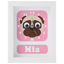 Buy Stripey Cats Personalised Pug Framed Clock, 23 x 18cm, Pink Online at johnlewis.com
