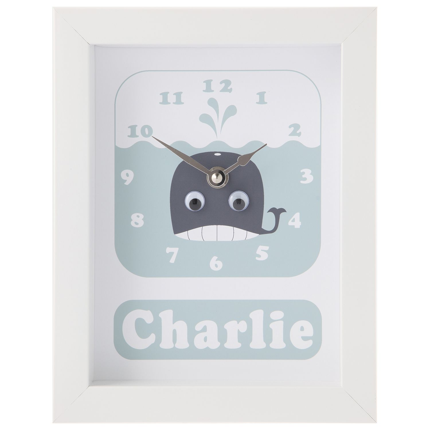 Stripey Cats Stripey Cats Personalised Whale Framed Clock, 23 x 18cm, Blue