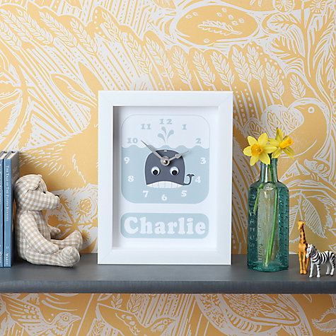 Buy Stripey Cats Personalised Whale Framed Clock, 23 x 18cm, Blue Online at johnlewis.com