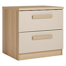 Buy House by John Lewis Mix it Block Handle 2 Drawer Bedside Chest, House Putty/Natural Oak Online at johnlewis.com