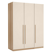 Buy House by John Lewis Mix it Block Handle Triple Wardrobe, House Putty/Natural Oak Online at johnlewis.com