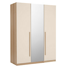 Buy House by John Lewis Mix it Block Handle Triple Wardrobe with Central Mirror, House Putty/Natural Oak Online at johnlewis.com