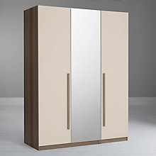 Buy House by John Lewis Mix it Block Handle Triple Wardrobe with Central Mirror, House Putty/Grey Ash Online at johnlewis.com