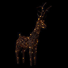 Buy John Lewis Pre-Lit Rattan 83cm Reindeer Light, Natural Online at johnlewis.com