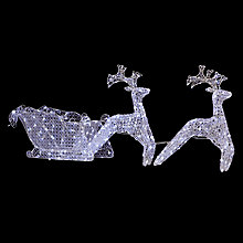 Buy John Lewis 2 Reindeer And Sleigh Light, Clear Online at johnlewis.com