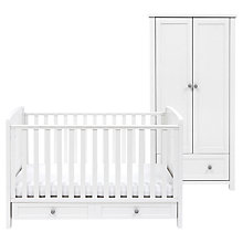 Buy Silver Cross Nostalgia Cotbed and Wardrobe Set, Antique White/Black Online at johnlewis.com