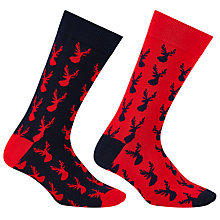 Buy John Lewis Novelty Reindeer Socks, Pack of 2, One Size, Navy/Red Online at johnlewis.com