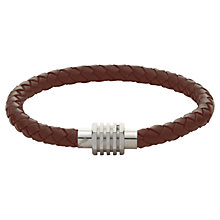 Buy John Lewis Plaited Leather & Steel Bracelet, Brown Online at johnlewis.com