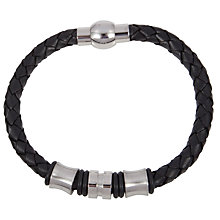 Buy John Lewis Leather & Steel Plait Bracelet, Black Online at johnlewis.com