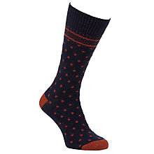 Buy JOHN LEWIS & Co. Birdseye Heritage Pattern Socks, One Size, Navy/Red Online at johnlewis.com