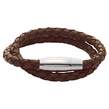 Buy John Lewis Plaited Leather & Steel Bracelet Online at johnlewis.com