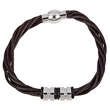 Buy John Lewis Multi Strand Leather & Steel Bracelet, Brown Online at johnlewis.com