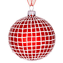 Buy John Lewis Copenhagen Checked Bauble, Red/White Online at johnlewis.com