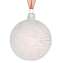 Buy John Lewis Crackle Bauble, Red/White Online at johnlewis.com