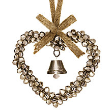 Buy John Lewis Bell Heart Decoration, Champagne Online at johnlewis.com