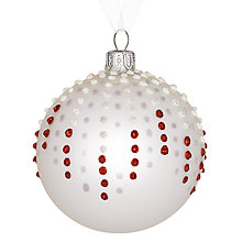 Buy John Lewis Glitter Dots Bauble, Red/White Online at johnlewis.com