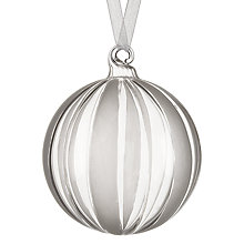 Buy John Lewis Croft Collection Frosted Striped Bauble, Clear Online at johnlewis.com
