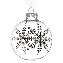 Buy John Lewis Snowflake Bauble, Clear/Black Online at johnlewis.com