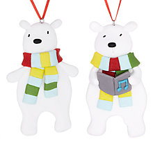 Buy John Lewis Claydough Polar Bear Decoration, Assorted Online at johnlewis.com