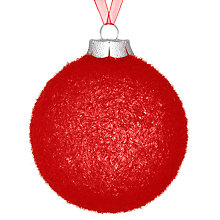 Buy John Lewis Flocked Glass Bauble, Red Online at johnlewis.com