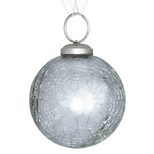Buy John Lewis Croft Collection Shiny Crackle Bauble, Silver Online at johnlewis.com
