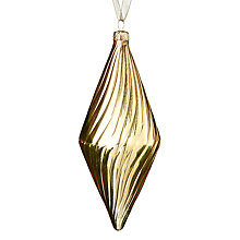 Buy John Lewis Shiny Ribbed Finial Bauble, Gold Online at johnlewis.com