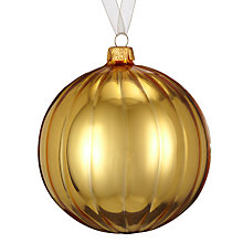 Buy John Lewis Shiny Ribbed Bauble, Gold Online at johnlewis.com