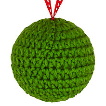 Buy John Lewis Knitted Bauble, Green Online at johnlewis.com