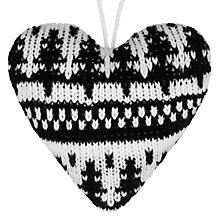 Buy John Lewis Knitted Heart, Black/White Online at johnlewis.com