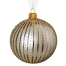 Buy John Lewis Stripe and Glitter Spot Bauble, Gold Online at johnlewis.com