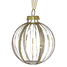 Buy John Lewis Glitter Stripe on Bauble, Clear/Gold Online at johnlewis.com