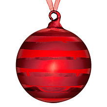 Buy John Lewis Shiny Stripe Bauble, Red Online at johnlewis.com