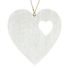 Buy John Lewis Croft Collection Washed Wooden Heart Decoration, White Online at johnlewis.com