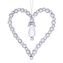 Buy John Lewis Croft Collection Bead Heart Decoration, Silver Online at johnlewis.com
