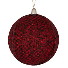 Buy John Lewis Rustic Woven Bauble, Red Online at johnlewis.com