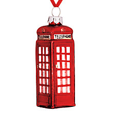 Buy John Lewis Tourism Glass Telephone Box Decoration, Red Online at johnlewis.com