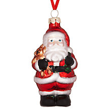 Buy John Lewis Father Christmas Holding Teddy Decoration, Multi Online at johnlewis.com