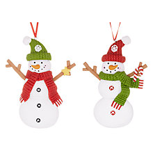 Buy John Lewis Claydough Snowman Decoration, Assorted, Multi Online at johnlewis.com