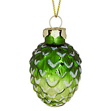 Buy John Lewis Pine Cone Bauble, Mini, Green Online at johnlewis.com