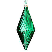 Buy John Lewis Shiny Ribbed Finial Bauble, Green Online at johnlewis.com