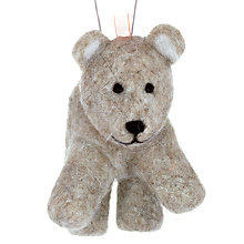 Buy John Lewis Christmas Wool Bear Decoration, Brown Online at johnlewis.com