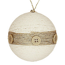 Buy John Lewis Natural Jute Button Bauble, Cream Online at johnlewis.com